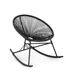Blumfeldt Roqueta Fotel bujany styl retro plecionka 4 mm, czarny