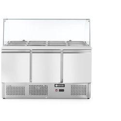 Stół chłodniczy sałatkowy 3-drzwiowy z nadstawą szklaną, 1365x700x1300 mm | HENDI, 232798