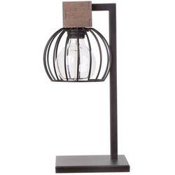 LAMPA stołowa MILAN 50120 Sigma stojąca LAMPKA biurkowa klatka druciana drewno brązowa