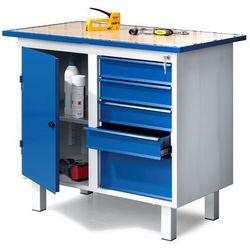 Stół narzędziowy FLEX, na nóżkach, 1 szafka, 5 szuflad
