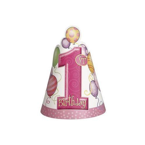 Balony, Czapeczka na roczek 1st Birthday Baloniki Pink - 1 szt
