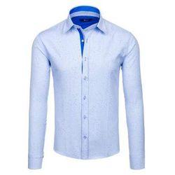 Błękitna koszula męska we wzory z długim rękawem Bolf 6887