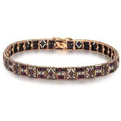 Kolekcja Wiktoriańska -złota bransoletka z diamentami i rubinami
