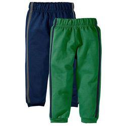 Spodnie dresowe (2 pary) bonprix ciemnoniebieski + zielony