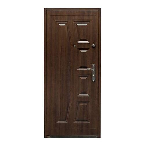 Drzwi zewnętrzne, Drzwi wewnątrzklatkowe stalowe Splendoor Gaja 80 lewe orzech szlachetny