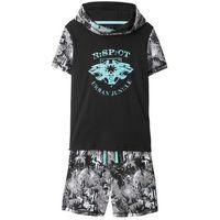 Zestawy odzieżowe dziecięce, Shirt z kapturem + bermudy dresowe (2 części) bonprix czarno-biały z nadrukiem