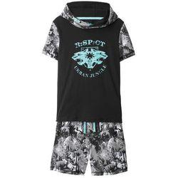 Shirt z kapturem + bermudy dresowe (2 części) bonprix czarno-biały z nadrukiem