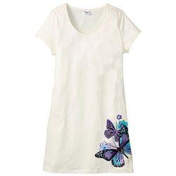 Koszula nocna bonprix biel wełny z nadrukiem