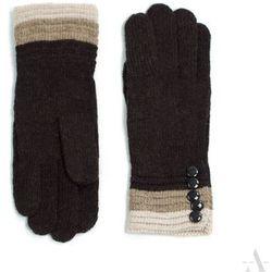 Dzianinowe rękawiczki damskie z guziczkami ciemny brąz - brązowy ||beżowy ||kremowy