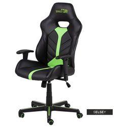 SELSEY Fotel gamingowy Joline czarno-zielony