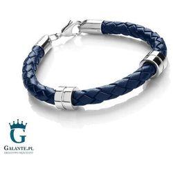 Niebieska bransoleta męska ze skóry T1058