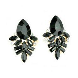 Kolczyki z czarnymi kryształkami.Kolekcja Orchidea