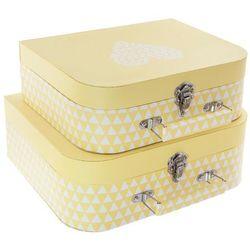 Pudełko ozdobne na drobiazgi ATOMIC HOME w kształcie walizki - 2 sztuki w komplecie, kolor żółty
