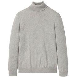 Sweter z golfem z kaszmirem bonprix jasnoszary melanż