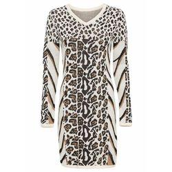Sukienka plażowa z wycięciami bonprix biało-czarny z nadrukiem