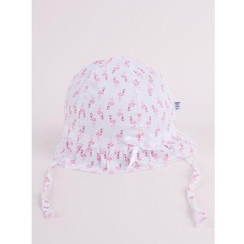 Nakrycia głowy dla dzieci, Czapka letnia kapelusz jasnoróżowy ze wstążką we flamingi 46-48