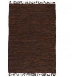 Ręcznie tkany dywanik Chindi, skórzany, 160x230 cm, brązowy