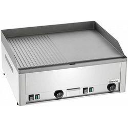 Płyta grillowa elektryczna 1/2 gładka 1/2 ryflowana nastawna | 650x480mm | 6000W