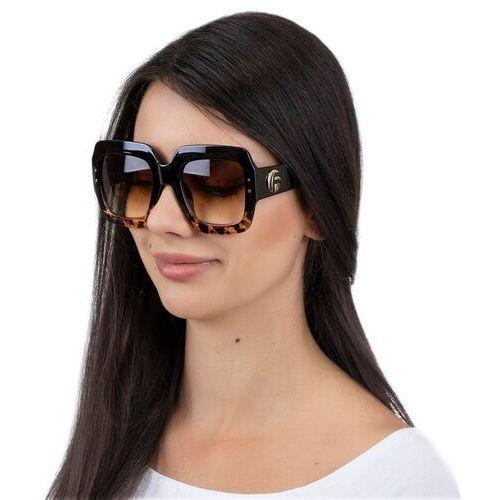 Okulary przeciwsłoneczne, Okulary damskie przeciwsłoneczne kwadratowe brąz
