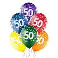 """Pozostałe wyposażenie domu, Balony transparentne z nadrukiem """"50"""" - 12 cali - 6 szt."""