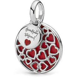 Rodowany srebrny wiszący charms do pandora serce heart jaspis srebro 925 BEAD256