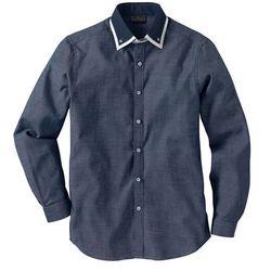Koszula biznesowa Regular Fit bonprix ciemnoniebiesko-biały wzorzysty