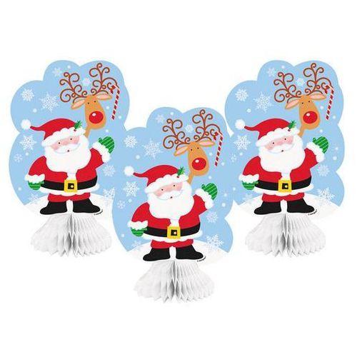 Ozdoby świąteczne, Dekoracja stołu Święty Mikołaj - 20 cm - 3 szt