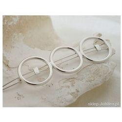 Korean style - trzy koła srebrna spinka do włosów