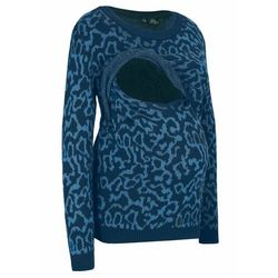 Sweter ciążowy i do karmienia piersią bonprix ciemnoniebieski - leo
