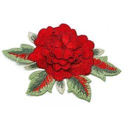 Naszywka warstwowy kwiat czerwień 12,5cm x max 8cm - CZERWIEŃ