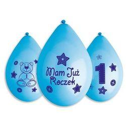 Balony z nadrukiem Mam już roczek niebieskie - 30 cm - 5 szt.