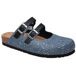 Klapki Dr Brinkmann 600463-5 Jeans Naturform Fussbett - Jeans ||Niebieski ||Granatowy ||Srebrny