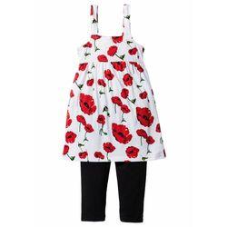 Sukienka dziewczęca + legginsy 3/4 (kompl. 2-częściowy) bonprix truskawkowo-biało-czarny