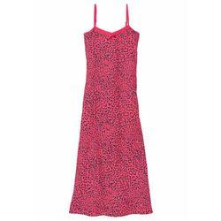 Koszula nocna na cienkich ramiączkach bonprix różowy hibiskus - szary z nadrukiem