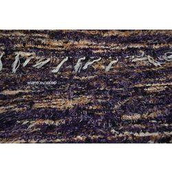 Chodnik bawełniany, ręcznie tkany, czarno-fioletowo-jasny brąz-ecru 65x200