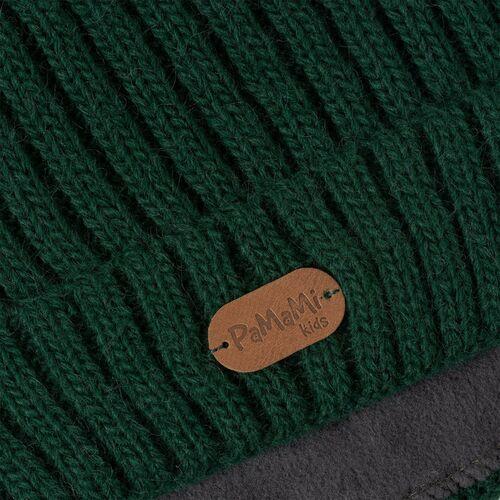 Nakrycia głowy dla dzieci, Czapka dziecięca z futerkowym pomponem - Butelkowa zieleń