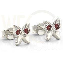 Kolczyki motylki z białego złota z czerwonymi cyrkoniami BPK-88B-C - Białe