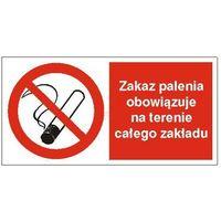 Oznakowanie informacyjne i ostrzegawcze, Znak Zakaz palenia obowiązuje na terenia całego zakładu 400x200 PB