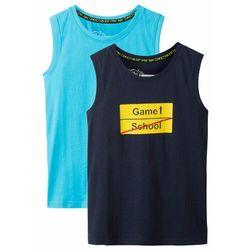 Koszulka bez rękawów (2 szt.) bonprix ciemnoniebiesko-turkusowy z nadrukiem
