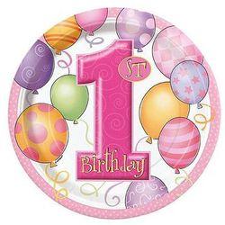 Talerzyki na roczek 1st Birthday Baloniki Pink - 18 cm - 8 szt