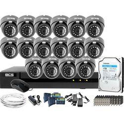 Monitoring po skrętce BCS Basic Full HD 2MPx 1TB H265+ 16 x Kamera kopułkowa 2.8-12mm IR 40m