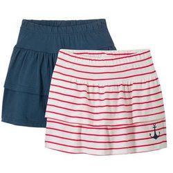 Spódnica shirtowa z falbanami (2 szt.) bonprix ciemnoniebiesko-biel wełny + czerwony w paski