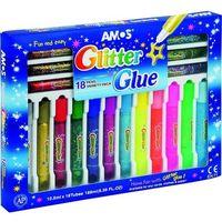 Kleje, Klej Glitter Glue mix 18 kolorów blister AMOS