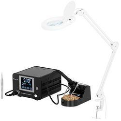 Stamos Soldering Zestaw Stacja lutownicza - 100 W - cyfrowa - LCD dotykowy + Lampa powiększająca - 3 dpi - LED S-LS-49-SET - 3 LATA GWARANCJI
