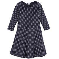 Sukienki dziecięce, Sukienka dziewczęca shirtowa z rękawami 3/4 bonprix ciemnoniebiesko-biały w kropki