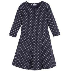 Sukienka dziewczęca shirtowa z rękawami 3/4 bonprix ciemnoniebiesko-biały w kropki
