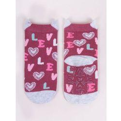 Skarpety bawełniane z silikonem antypoślizgowe dziewczęce love 20-22