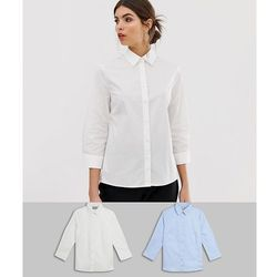 ASOS 3/4 Sleeve Shirt in Stretch Cotton 2 Pack - White