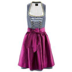 Sukienka ludowa z fartuchem, długość przed kolano bonprix kobaltowy w groszki