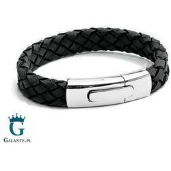 Czarna skórzana bransoleta na rękę Tx233